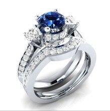 Huitan Fashion 2 Sets Finger Ring For Women Brilliant Cubic Zircon Prong Setting Wedding Engagement Set Wholesale Jewelry