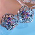 Vintage Style Colorful Earrings For Wedding Bronze Plated Pendientes Hollow Out Earring Brincos Bijoux boucle d'oreille femme