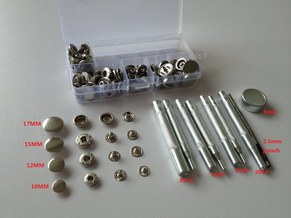 US $12 99 |17mm/15mm/12mm/10m Snap Fastener Press Stud Buttons Poppers  Leather Craft + Fixings Tools Kit HD083-in Buttons from Home & Garden on