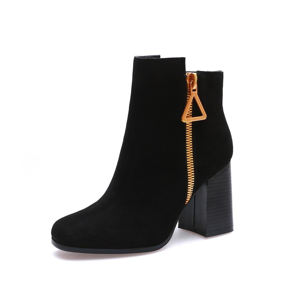 Altos Botines Tacones Asumer Redonda brown De Zapatos Nuevo Cremallera Mujeres Negro Botas Moda 2018 Vestido Punta Cuadrados Cuero Femeninos Suede w686qpCn