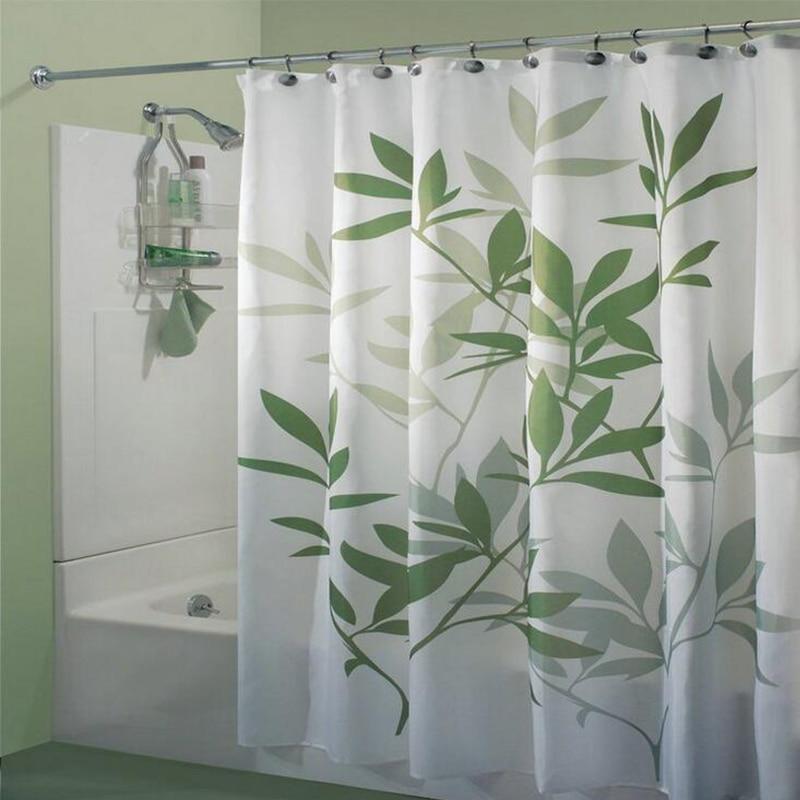 100 % 폴리 에스터 직물 목욕 커튼 녹색 잎 인쇄 된 커튼 방수 커튼 욕실 홈 장식