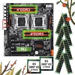 Скидка HUANANZHI материнская плата Комплект двойной X79 материнская плата с 8 DDR3 DIMMs двойной процессор Xeon E5 2697 V2 RAM 128G (8*16G) 1866 RECC