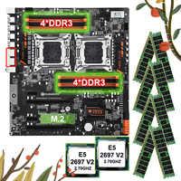 Descuento HUANANZHI Paquete de placa base dual X79 placa base con 8 DDR3 DIMM doble CPU Xeon E5 2697 V2 RAM 128G (8*16G) 1866 RECC