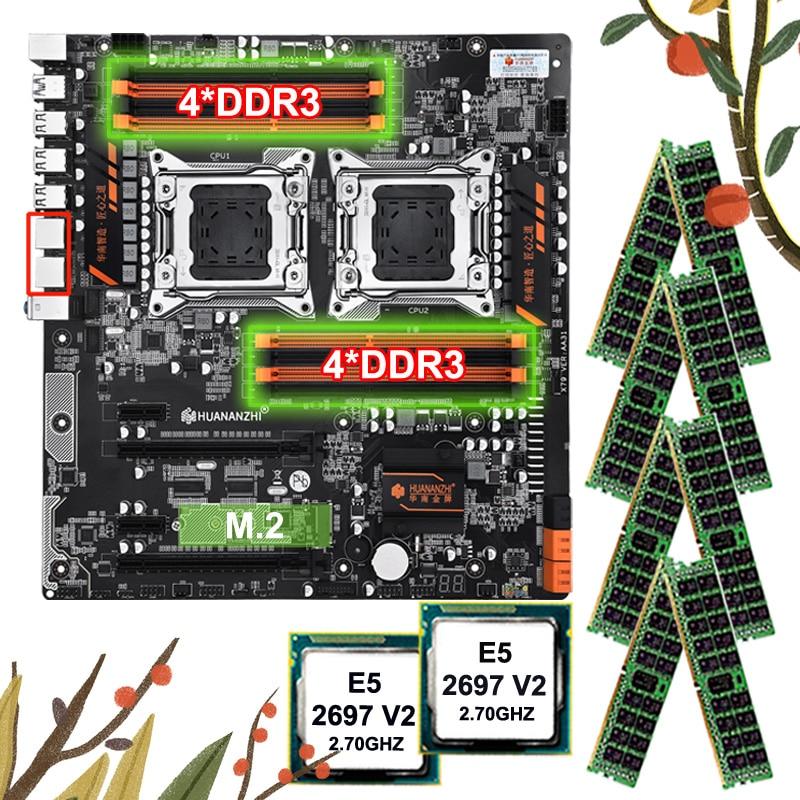 Discount HUANANZHI Motherboard Bundle Dual X79 Motherboard With 8 DDR3 DIMMs Dual CPU Xeon E5 2697 V2 RAM 128G(8*16G) 1866 RECC