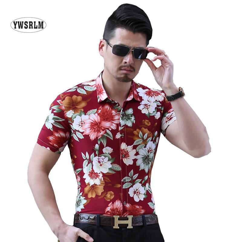 Men Casual Silk Cotton Shirts Good Quality M-6XL Floral Print Shirt Men Short Sleeve Shirt 2017 Summer Camisas Hombre plus size
