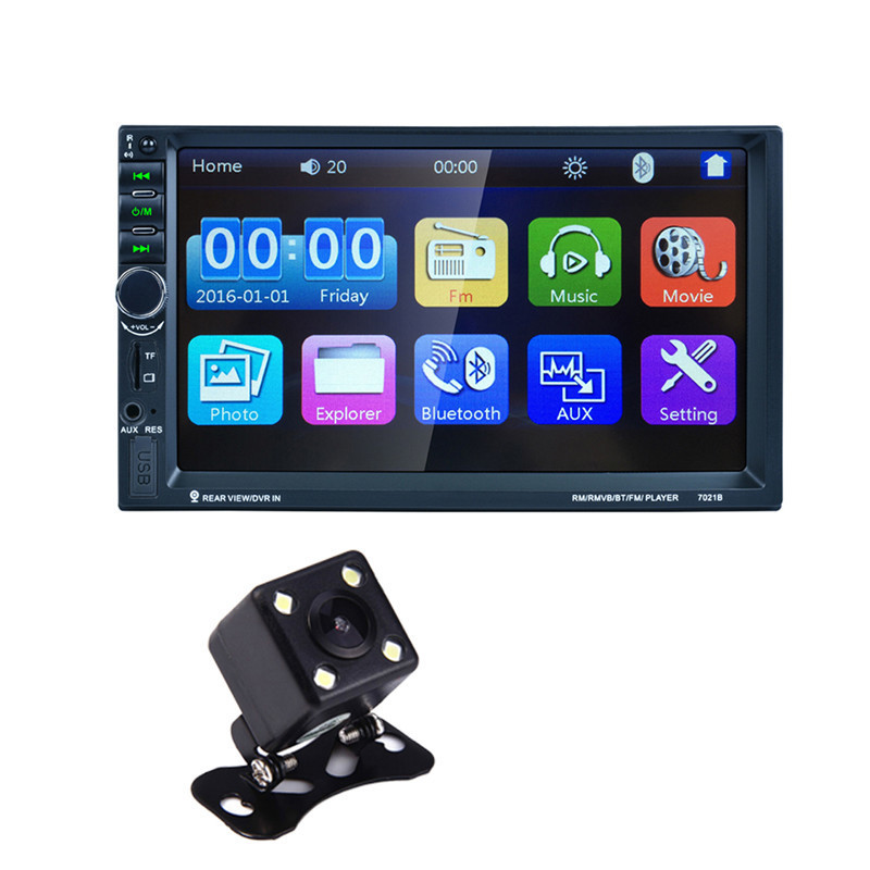 7021B 7 inch 2 DIN Car Stereo Audio Media Player Bluetooth 800X480 Touch Screen MP5 Radio Player Built-in FM/TF/USB/SD tuner