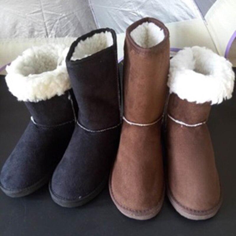2018 Classic Design Flock Winter Snow Boots Women Anti-slip Lady Flats Snow Shoes Black