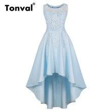 Tonval Floral Lace contraste alto bajo Hem larga Vestidos Mujer Party Night  Out Maxi vestido elegante luz azul Vintage vestido e42c7e6d2309