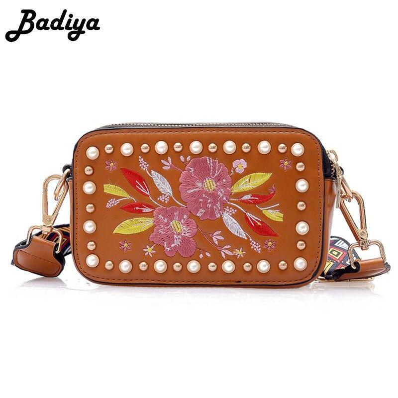 Colorful Ethnic Style Pearl Design Women Handbag Floral Embroidery Shoulder Bag Wide Strap Messenger Bag