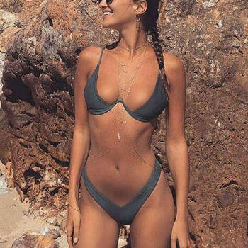 2019 New High Cut Thong Bathing Suit High Waist Swimsuit Solid Swimwear Women Brazilian Biquini Swim Beach Micro Bikini Set costumi moda 2019