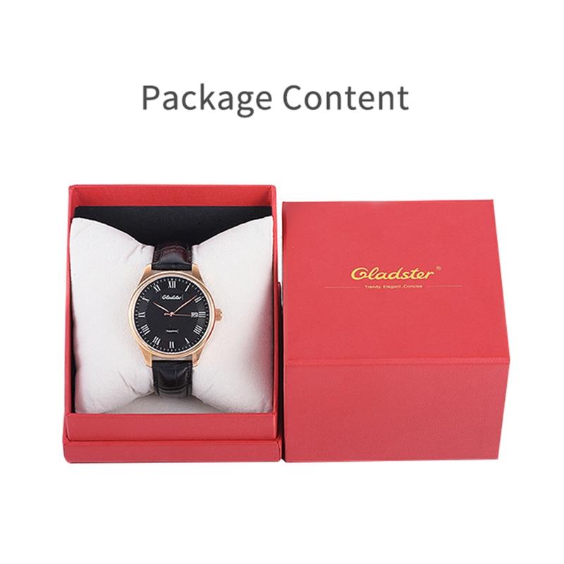 Gladster De Luxe Miyota Mode Mécanique Homme Montre Automatique Auto-vent D'affaires Date Heure Horloge Lumineux En Cuir Homme Montre-Bracelet