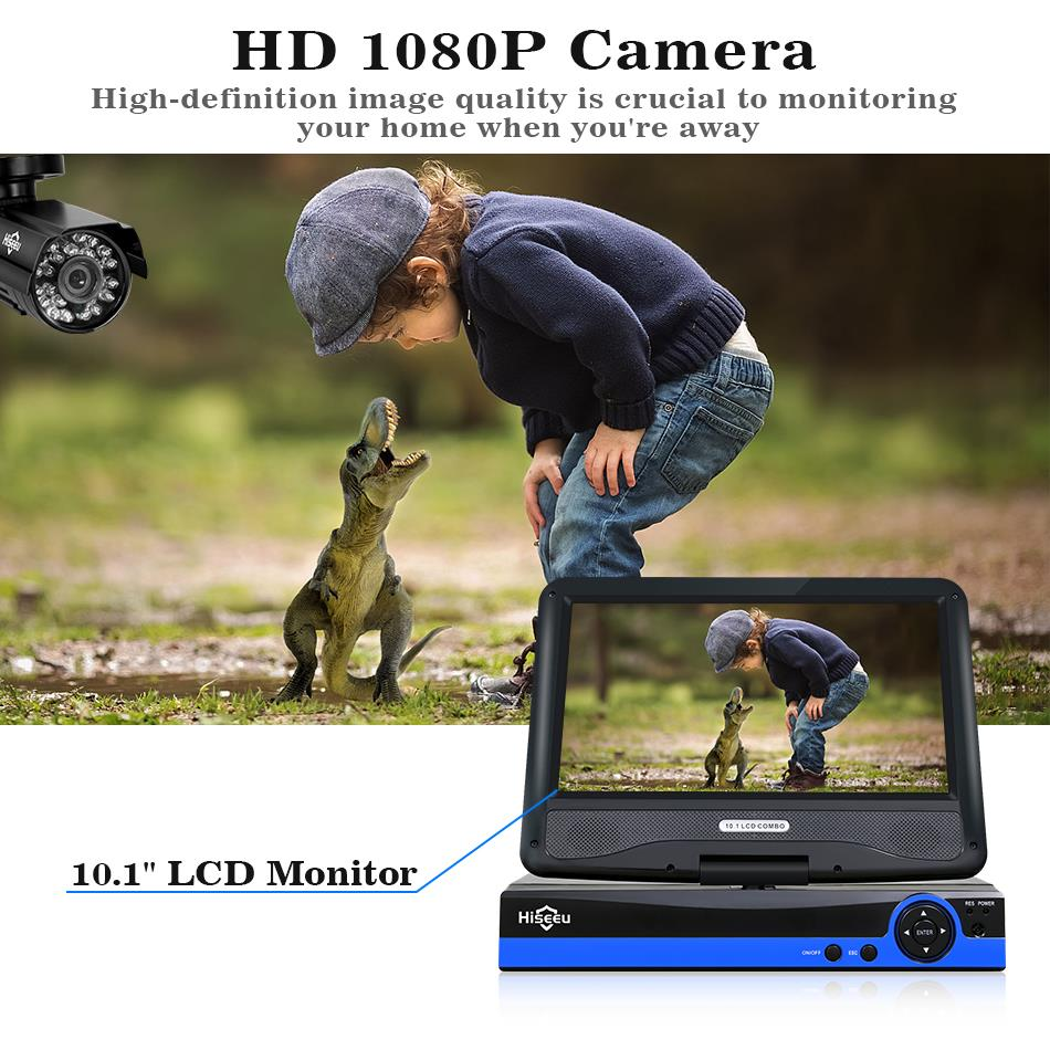 Image 3 - Hiseeu 4CH 1080P CCTV System kit 10inch LCD Display Bullet Outdoor waterproof video Surveillance AHD Security Camera System set-in Surveillance System from Security & Protection