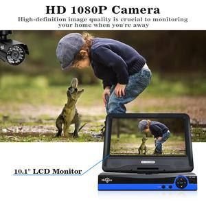 Image 3 - Hiseeu 4CH 1080P CCTV System kit 10inch LCD Display Bullet Outdoor waterproof video Surveillance AHD Security Camera System set