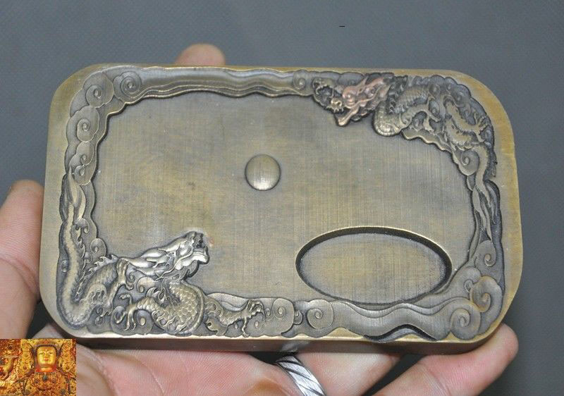 """wedding decoration 5""""Marked Chinese bronze calligraphy tools double Dragon Loong Ink-stone ink slab"""
