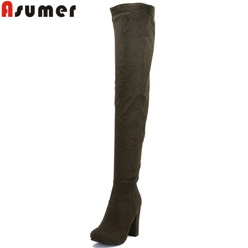 ASUMER Over-The-Knee Boots Shoes Women Fashion New Flock Zip Round-Toe Hot-Sale