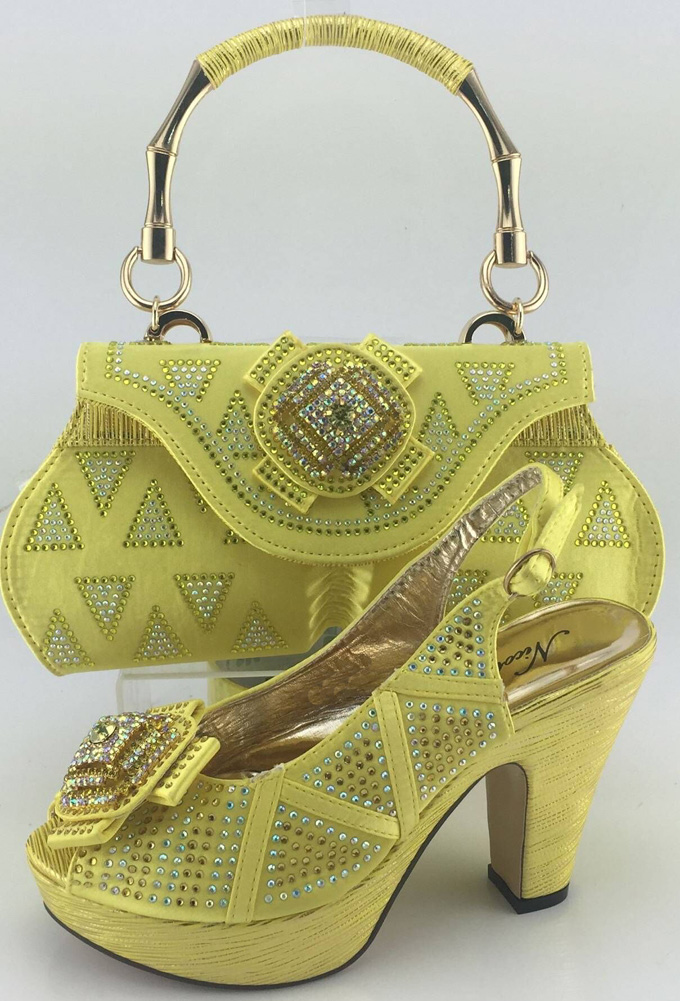 ФОТО Yellow High Heels Women Pumps African Wedding Shoe And Bag Set Women Shoe And Bag To Match For Party ME3317