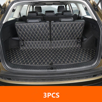 3PCS Car Styling Cargo Liner Car Trunk Mat Carpet Interior Floor Mats Leather Pad Fit For Skoda Kodiaq 2017 Auto Accessories