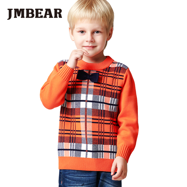 JMBEAR boys sweater kids spring autumn outwear clothes for children 3-6 years Plaid o-neck long sleeve 2016 new