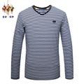 Royal Queen's brand brand 2017 spring autumn new male striped t-shirt men's slim V collar long sleeved men business male