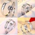 Casal de alta qualidade zircon prata anel aberto conjunto casar com anéis de noivado jóias de Prata presente do Dia Dos Namorados frete grátis