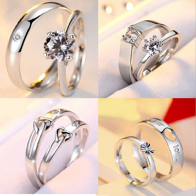 High quality couple zircon silver open ring set engagement marry rings Valentine s Day present Silver