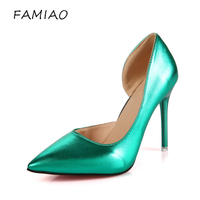 FAMIAO Women Pumps Sexy High Green Pumps Chaussure Femme Talon Bar Shoes Party Ladies Pumps 2017