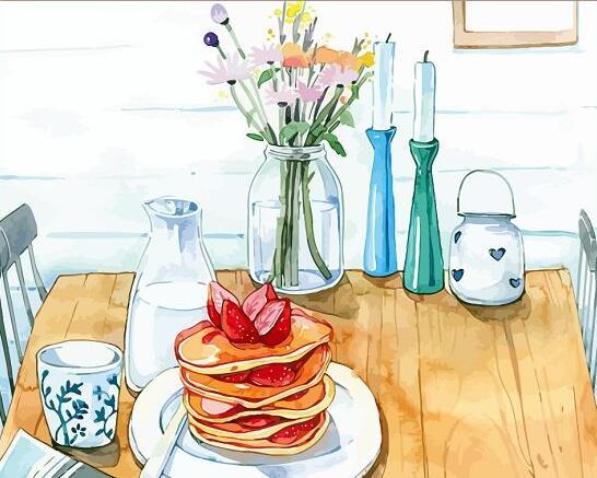 Painting Numbers DIY Number Food Canvas Hand Paint Painted Oil Breakfast Pancake