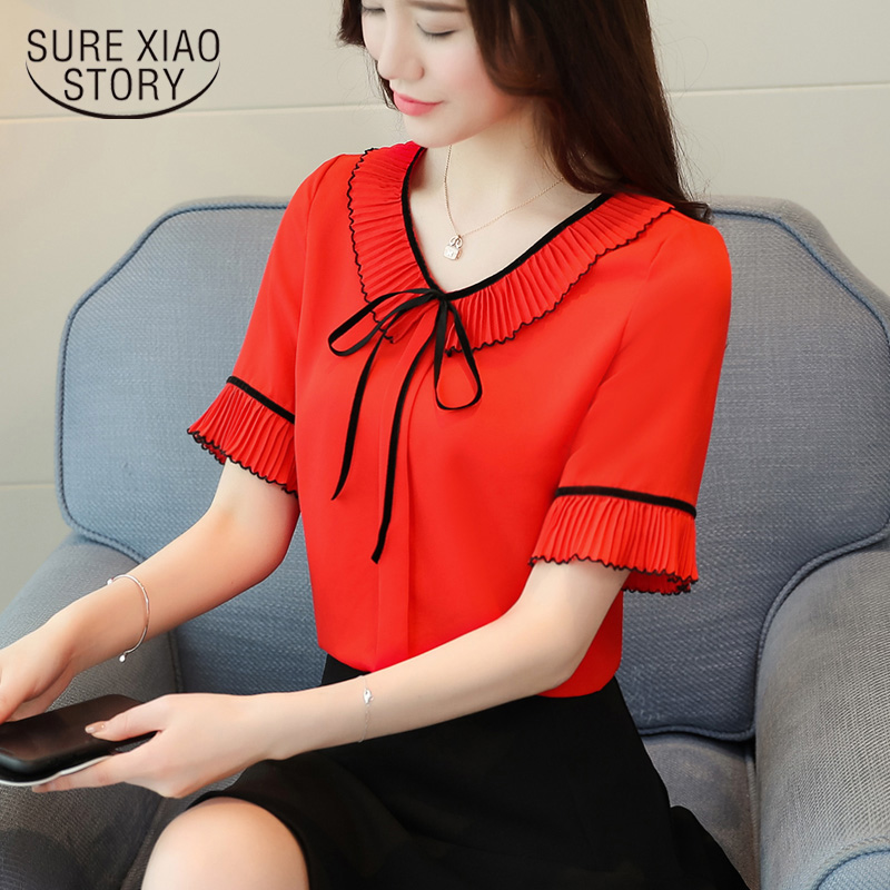 2019 New Spring Short Sleeved Blouses Bow Sweet Lady Casual Bow Women Tops Peter Pan Collar Women Shirts Chiffon Blouses D586 30