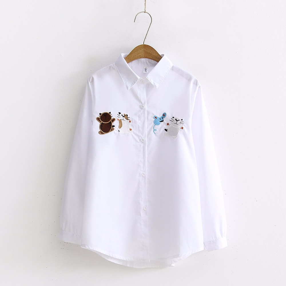 2019 NEW Solid Cat Mouse Embroidery Blouse Turn Down Collar Long Sleeve Button Up White Shirt School Girls Sweet Top Hot T93704F