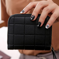 Fashion 2017 Women S Handbags Mini Wallet Coin Card Holder Leather Thin Wallets Nubuck Chess Small