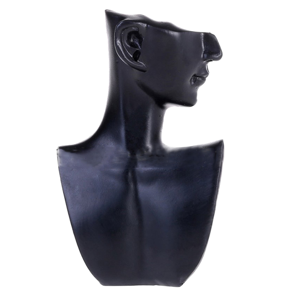 Black Resin Material Elegant Female Mannequin For Necklace Pendant Bust Jewelry Display Jewelry Store Display