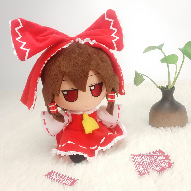 Anime TouHou Project Hakurei Reimu Cute Cosplay Plush Doll Soft Cartoon Toy Birthday Gifts  20cm
