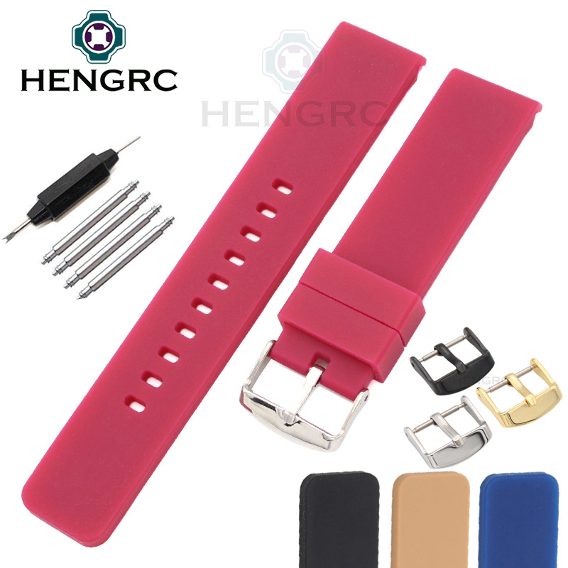 Hot Sale Silicone Rubber Watchbands 20mm Women Men 4 Colors Universal Diving Waterproof Watch Band Strap Bracelet Accessories 20mm sports silicone gel bracelet watch strap band for fitbit charge 2 watchbands sporting accessories correa reloj 13 colors