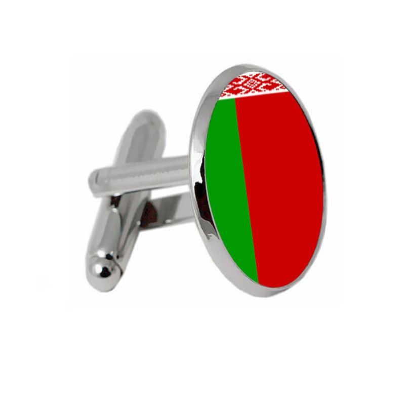 Erkek moda takı bayrağı Belarus kol düğmeleri sadece mektup siyah gümüş kaplama arka plan Vintage düğün erkek manşet