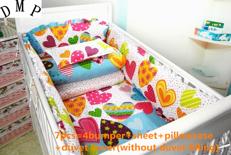 Promotion! 6/7PCS baby bedding set cute baby set 100% cotton crib bedding set  ,120*60/120*70cm promotion 6 7pcs baby bedding set crib bedding set 100% cotton baby bedclothe 120 60 120 70cm