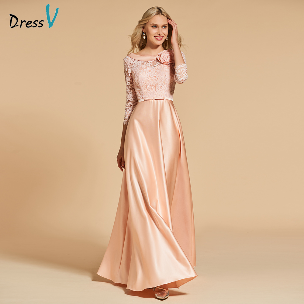 Dressv Flesh Pink Evening Dress Scoop Neck A Line 3/4 Sleeves Floor-length Pockets Wedding Party Formal Dress Evening Dresses
