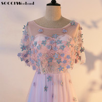 SOCCI Weekend Lace Evening Dresses 2017 Long Prom Dress With Shawl Women Formal Wedding Party Gown