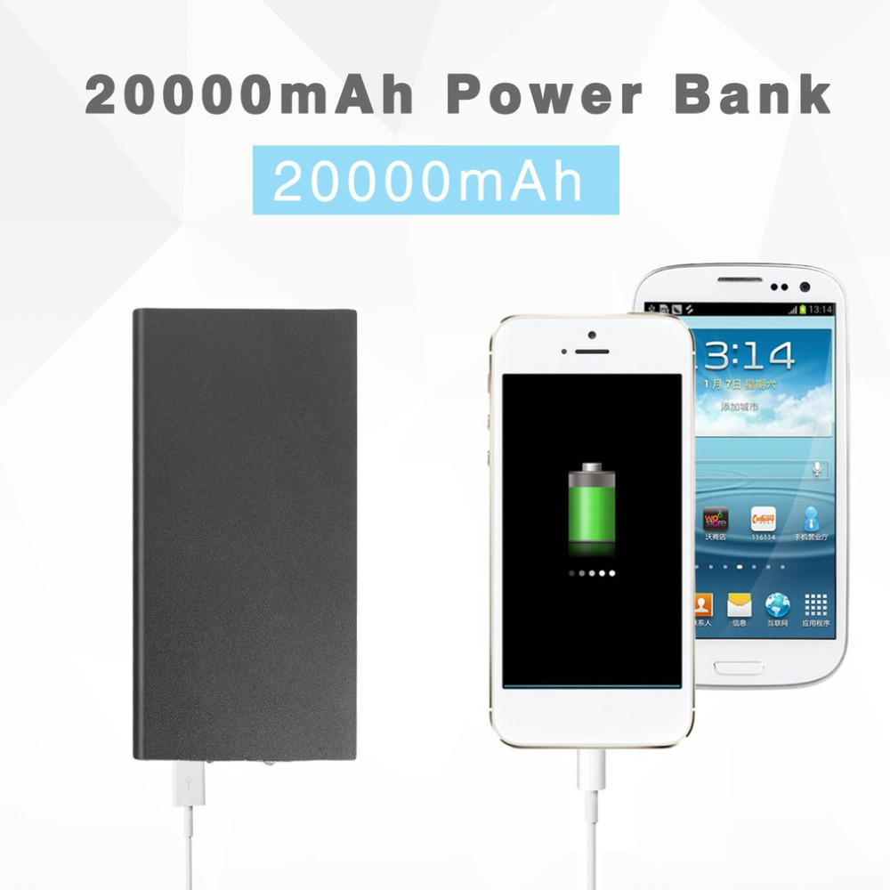Portable Ultra-Thin Power Bank 20000mAh External Battery Charger Powerbank Dual USB Poverbank for Xiaomi for Iphone6 7 8 X