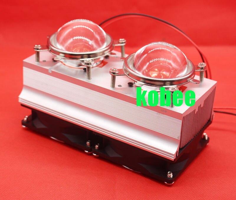 100W 200W High Power LED Heatsink cooling with fans 57mm Lens Reflector Bracket