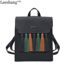 Leeshang New Fashion Tassel Hit Color Square Girls Backpack Scrub PU Leather Women Backpack Preppy Style School Bags Laptop Bag