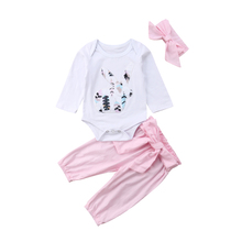 UK Newborn Kid Baby Girl Infant Bunny 3pcs Clothes Romper Tops Pants Outfits Set