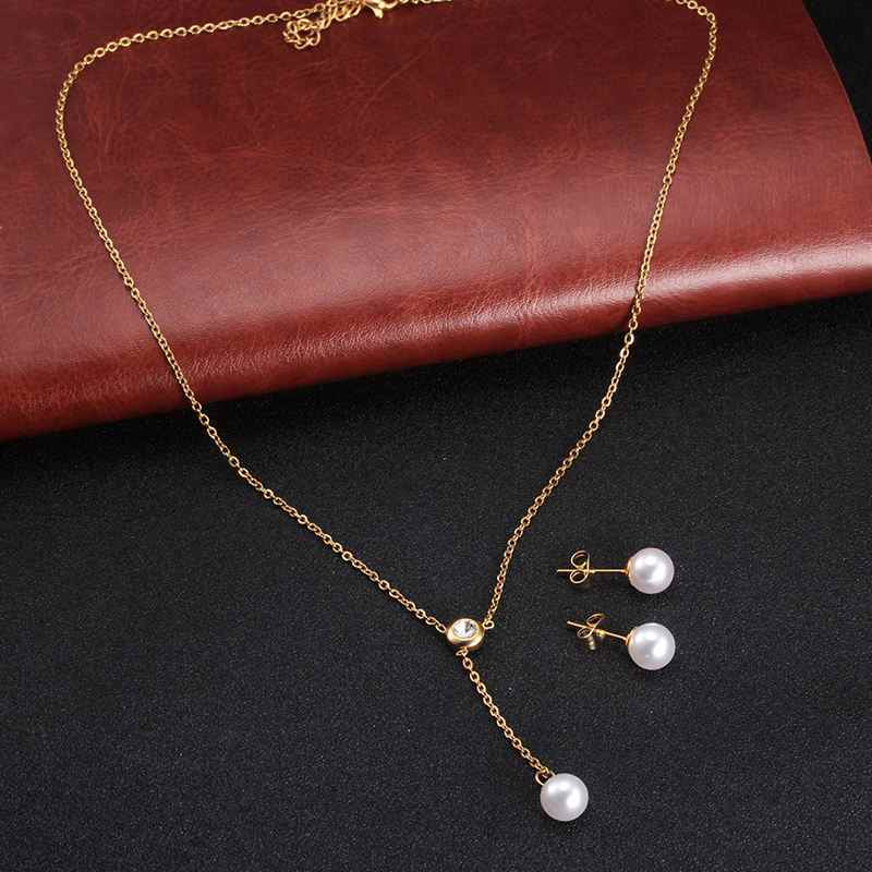 Long Pearl CZ Necklace Earring Jewelry Set Stainless Steel Heartbeat Pendant Necklace Jewelry for Women Bijoux Femme