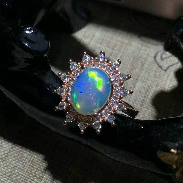 Ослепительно опала кольцо 8 мм * 10 мм природный Австралия опал классический стерлингового серебра 925 для женщин обручальное кольцо новый мода для девочек
