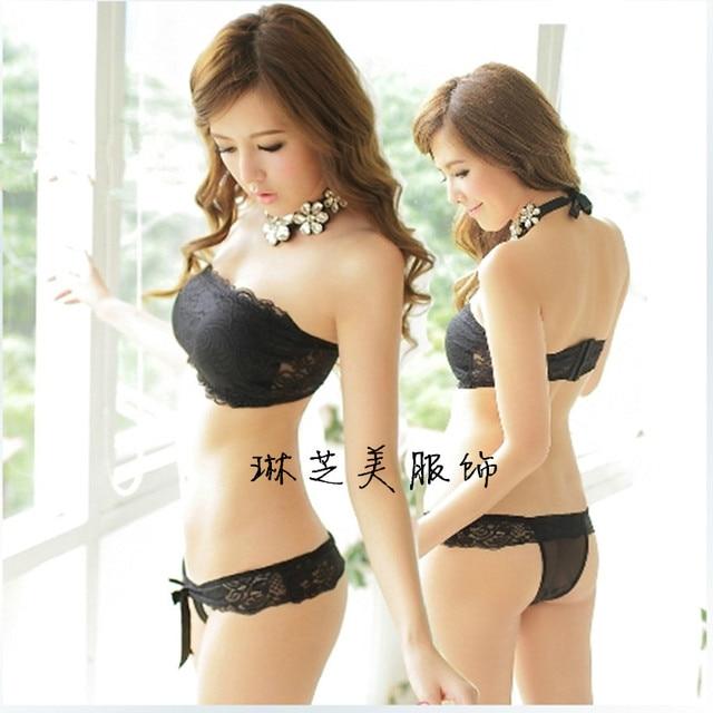 Sex White Young Girl Tube Top Design Underwear Bra Set Black Push Up Bra Setzs