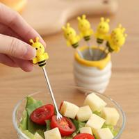 6 Pcs Fruits Fork With Ceramic Pot Silicone Bee Vegetable Fruit Tool Cute Kitchen Stainless Steel Fruit Set #20