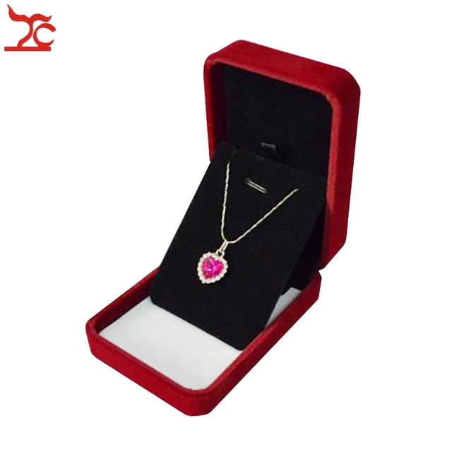 New Dark Red Velvet Jewelry Box Necklace Earring Stud Gift Box