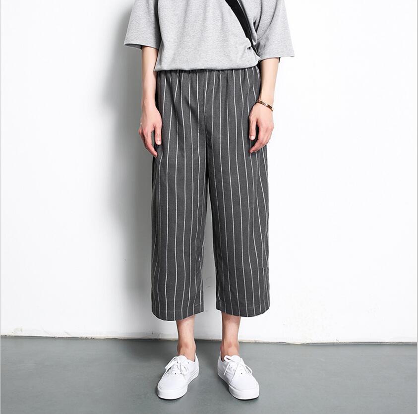 2017 Herrenbekleidung Friseur Trend Vintage Allgleiches Lose Hosen Streifen Schwarz Breite Beinhosen Plus Größe Sängerin Kostüme Einfach Zu Reparieren
