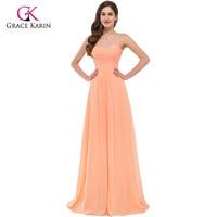 Grace Karin Orange Evening Dresses Women Elegant Strapless Long Party Dresses 2016 New Arrival Chiffon Formal