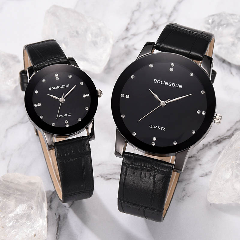Women Man Lovers Quartz Clock Couple Watches Classic Dial With PU Leather Band LXH