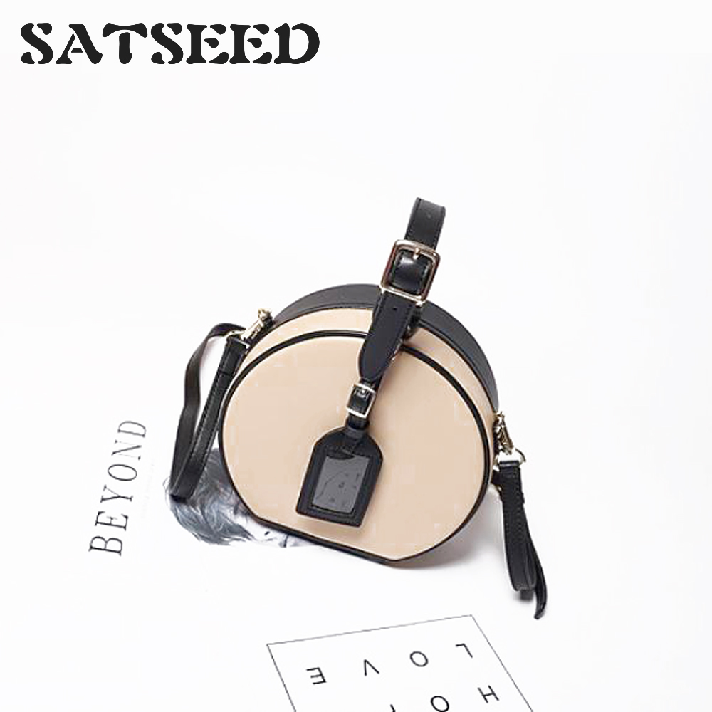 2019 New Women Korean Leather Single Shoulder Circular Bags Gentle Girl Fashion Casual Vintage Lock Color